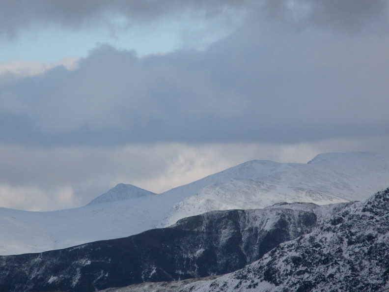 Catstycam and Helvellyn over Blea Crags on Maiden Moor